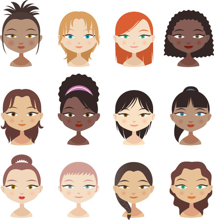 shaved head: Head and Shoulder People Avatar Profile Girl Faces Set 2, with different haircuts and colour and combinations vector illustration.