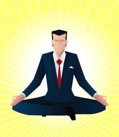 guru: Zen bussines man guru vector illustration