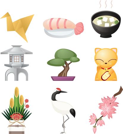maneki neko: Japanese culture icon set, cultural elements like: origami, fish, sushi, luck cat, lucky cat, floral arrangement, noodles. Vector illustration cartoon.