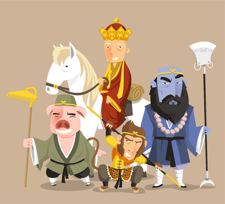 Journey to the West Chinese Mythology Novel Tale, vector illustration cartoon. Çizim