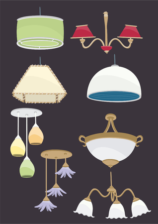 lamp set 2, roof lamp vector icon collection Çizim