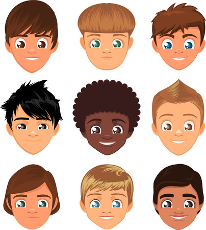 Little boys head faces avatar profile cartoon special character Set, with cool hairstyle vector illustration.