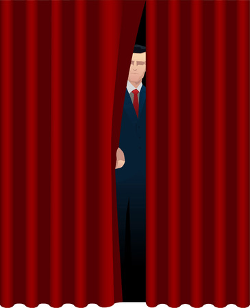 Host Presenter behind theater curtain theatrical stage opening. Vector illustration cartoon. 矢量图像