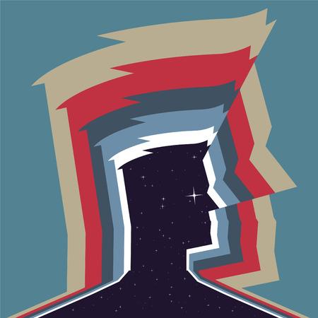 aura: Man Aura Glowing Color, vector illustration cartoon.