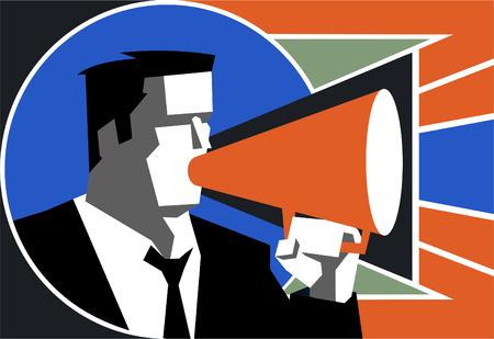 Businessman speaking on megaphone, vector illustration cartoon. 向量圖像