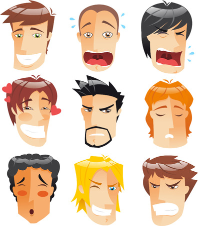expresiones faciales: Perfil Cabeza humana Vista de frente Avatar Hombres enfrenta colección conjunto, ilustración vectorial de dibujos animados.