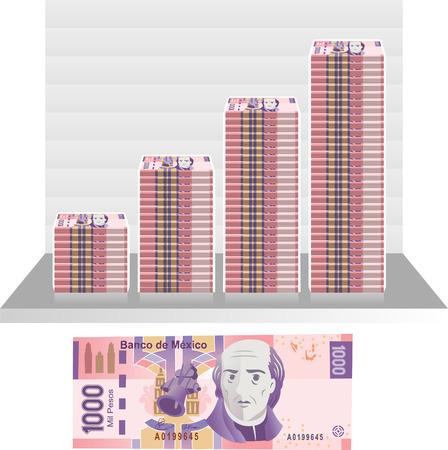 savings account: Mexican Peso Bill Graph vector illustration.