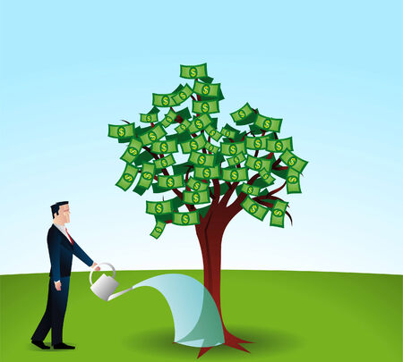 money tree: man watering a money tree.