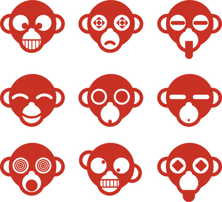 Monkey Ape head avatar cartoon character profile Fun set, vector illustration. Vector