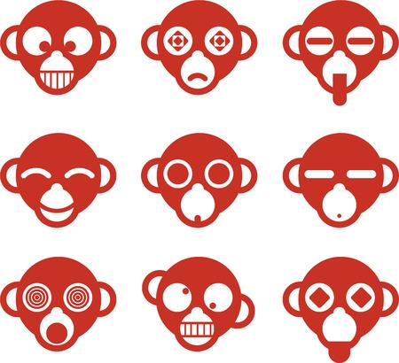 Monkey Ape head avatar cartoon character profile Fun set, vector illustration.