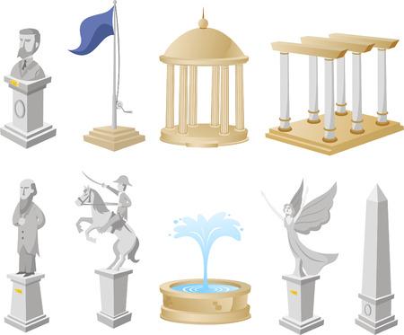Ilustración vectorial Monumento Icono Símbolo Estatua Arquitectura Turismo Collection. Vectores