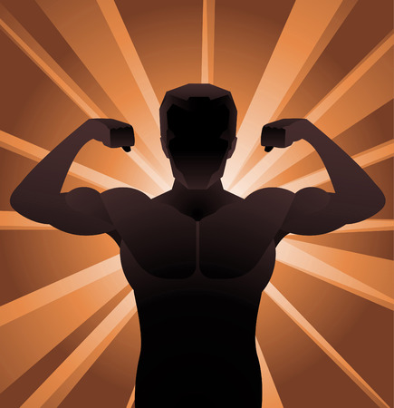 Naked Businessman Muscles vector illustration. Illustration