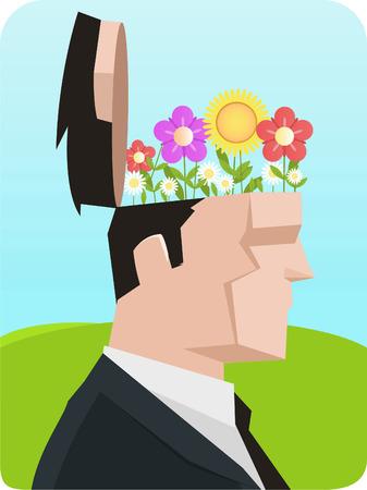 social grace: Ecological Businessman with flower open flowering head. Vector illustration cartoon. Illustration