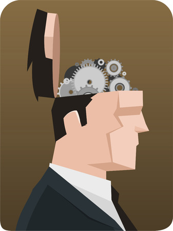 social grace: Businessman Thought Thinking Gear Mechanism. Vector illustration cartoon, with opened businessman head showing mechanism system.