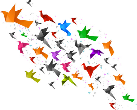Origami Birds Flying Upwards vector illustration. Çizim