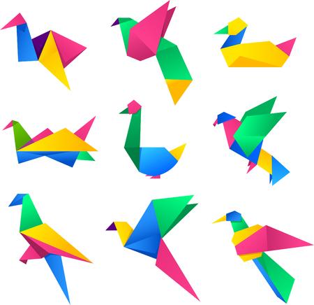 paper folding: Origami Birds Set vector illustration cartoon. Illustration
