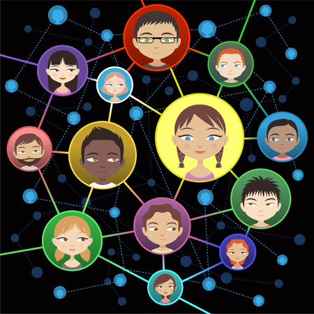 crowdsource: Connecting people through special characters Head and Shoulder Avatar Profile vector illustration.