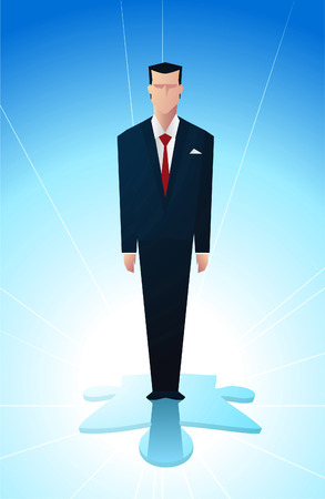new business problems: Business man standing on the final piece of a financial puzzle. Illustration