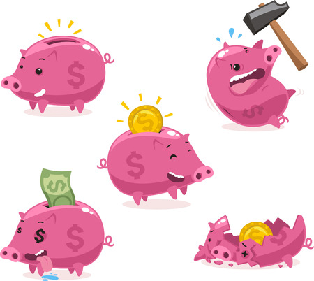 bringing home the bacon: Pink Piggy bank Savings Set vector illustration. Illustration