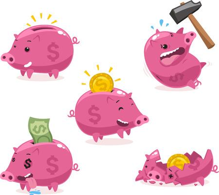 bringing home the bacon: Pink Piggy bank Savings Set vector illustration. Illustration