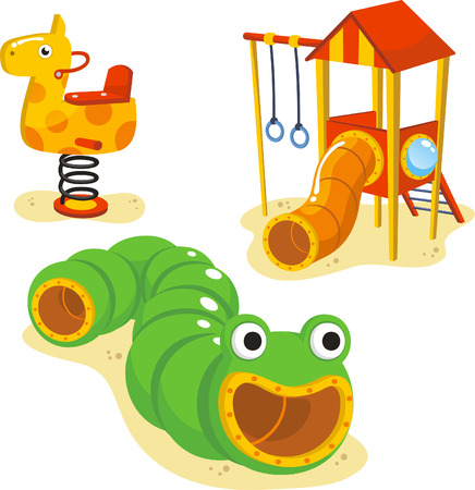 Park Playground Equipment set for Children Playing Stations vector illustration.