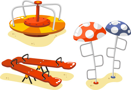 clambering: Park Playground Equipment set for Children Playing Stations, with seesaw, alternation, Merry-Go-Round and ascent game vector illustration.