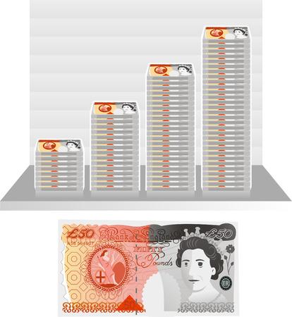 英ポンド法案グラフ  イラスト・ベクター素材