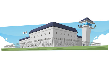 prison system: Prison Jail Penitentiary Building, vector illustration cartoon.