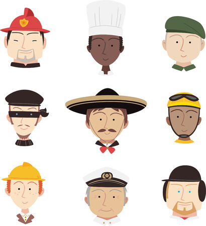 period costume: Head and Shoulder Professional People Profile avatar, with fireman, chef, military man, captain, cyclist, fire fighter, mariachi, rider, baseball, jokey, marine, thief, crook vector illustration