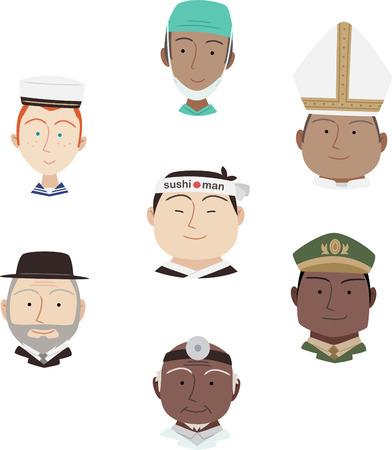 the rabbi: Head and Shoulder Professional people Avatar Profile Characters Cartoon Vectors Illustration.