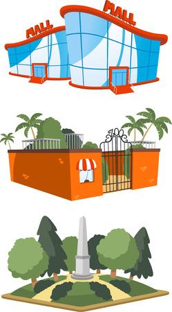 Set di 3 illustrazioni edificio pubblico, tra cui un centro commerciale, zoo e piazza illustrazione vettoriale. Archivio Fotografico - 33743354
