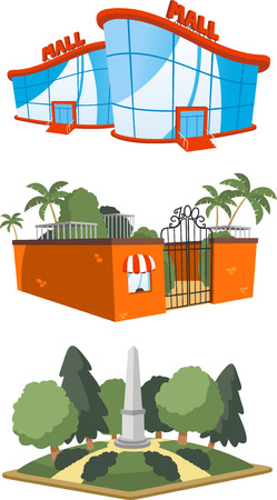 Set of 3 public building illustrations, including a mall, zoo and square vector illustration.