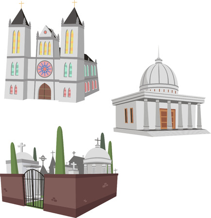 Illustration of 3 public builginds including a cathedral, cementery and a generic public construction.