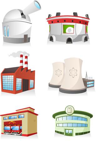 Dessin animé bâtiment public défini. usine, caserne de pompiers, le stade, la centrale, une librairie, observatoire.