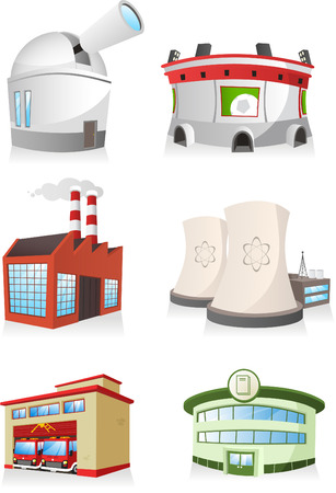 Public building cartoon set. factory, fire station,stadium, power plant, bookstore, observatory.