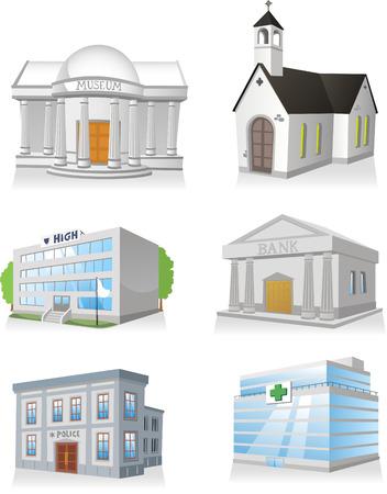 Openbare cartoon gebouw 3, kerk, ziekenhuis, politiebureau, museum, middelbare school, bank.