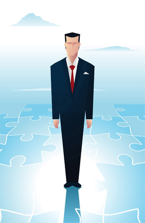 new business problems: Business man standingover a piece of a puzzle. Illustration