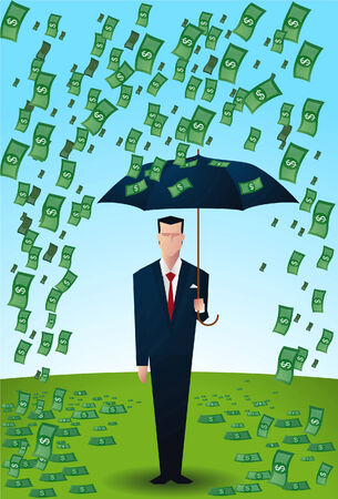 bringing home the bacon: Businessman with umbrella under a rain of dollar bills. Illustration