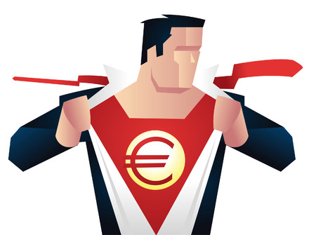 unbuttoned: Superhero with euro sign on chest ready for action, with red hero costume under blue businessman suit vector illustration.