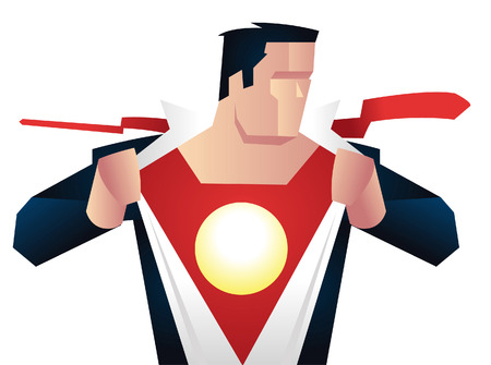 unbuttoned: Superhero getting ready for action, with red suit vector illustration.