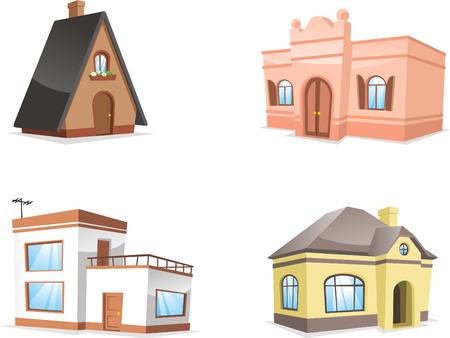 pensioen: woonhuis set. met Hotel, Inn, Mansion, Pension, Rijwoning, Boerderij, Huis, Dak, Daktegel vector illustratie.