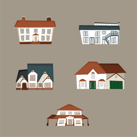 3d bungalow: Residential houses collection. With Residential farmhouse cottage condominium duplex house houses vector illustration. Illustration