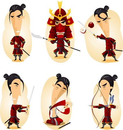 Samurai cartoon actie set Stock Illustratie