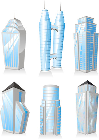 Skyscrapers Tower skyscraper apartment penthouse edifice structure set 1 office buildings.