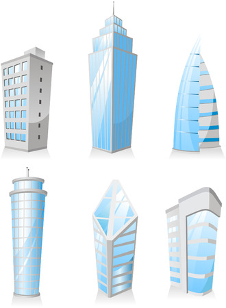 penthouse: Skyscrapers Tower skyscraper apartment penthouse edifice structure set 3. Vector illustration.