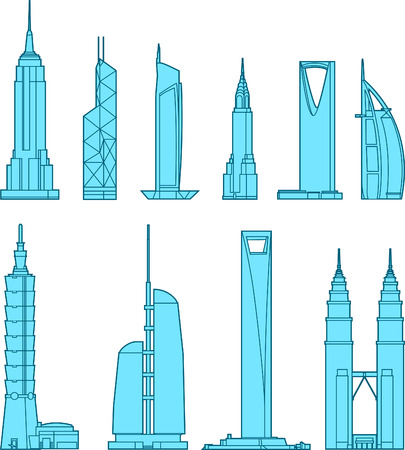 downtown district: Tall building Business Skyscraper Antenna Tower set vector illustration.
