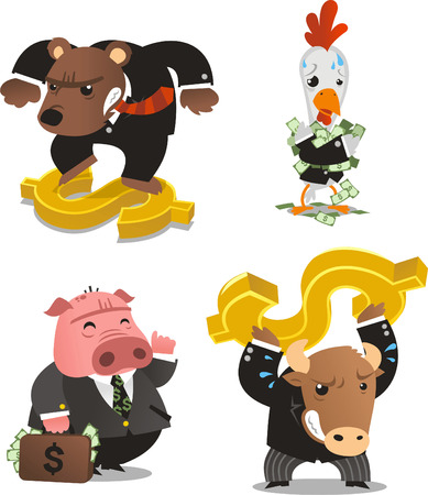 Stock market animals with money symbol and notes vector illustration.