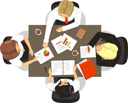 business meeting: Teamwork People Meeting, vector illustration cartoon. Illustration