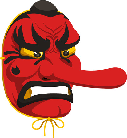 Tengu face mask, vector illustration. Illustration
