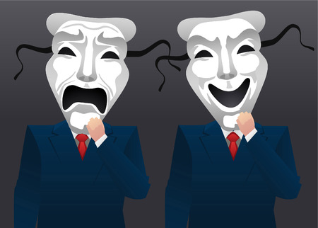 bullish: Men in blue suit wearing theater mask vector illustration.